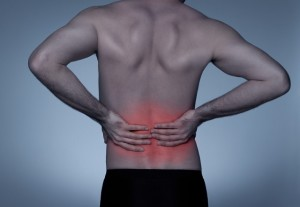 Young adult with back pain